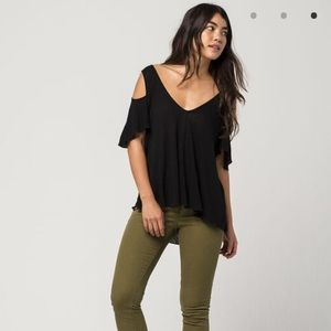 Free People Bittersweet Cold Shoulder Tee Black S